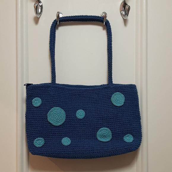 2 for 20! 🛍️ Vintage knit handbag with polka dots